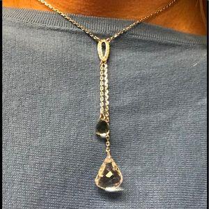 Swarovski Teardrop Crystal Y Lariat Necklace